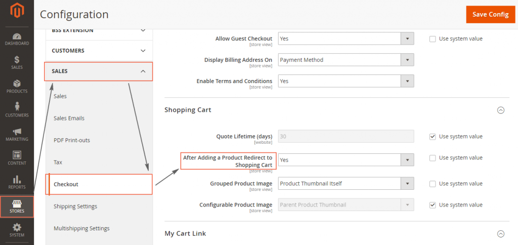 Configure Redirect to Cart