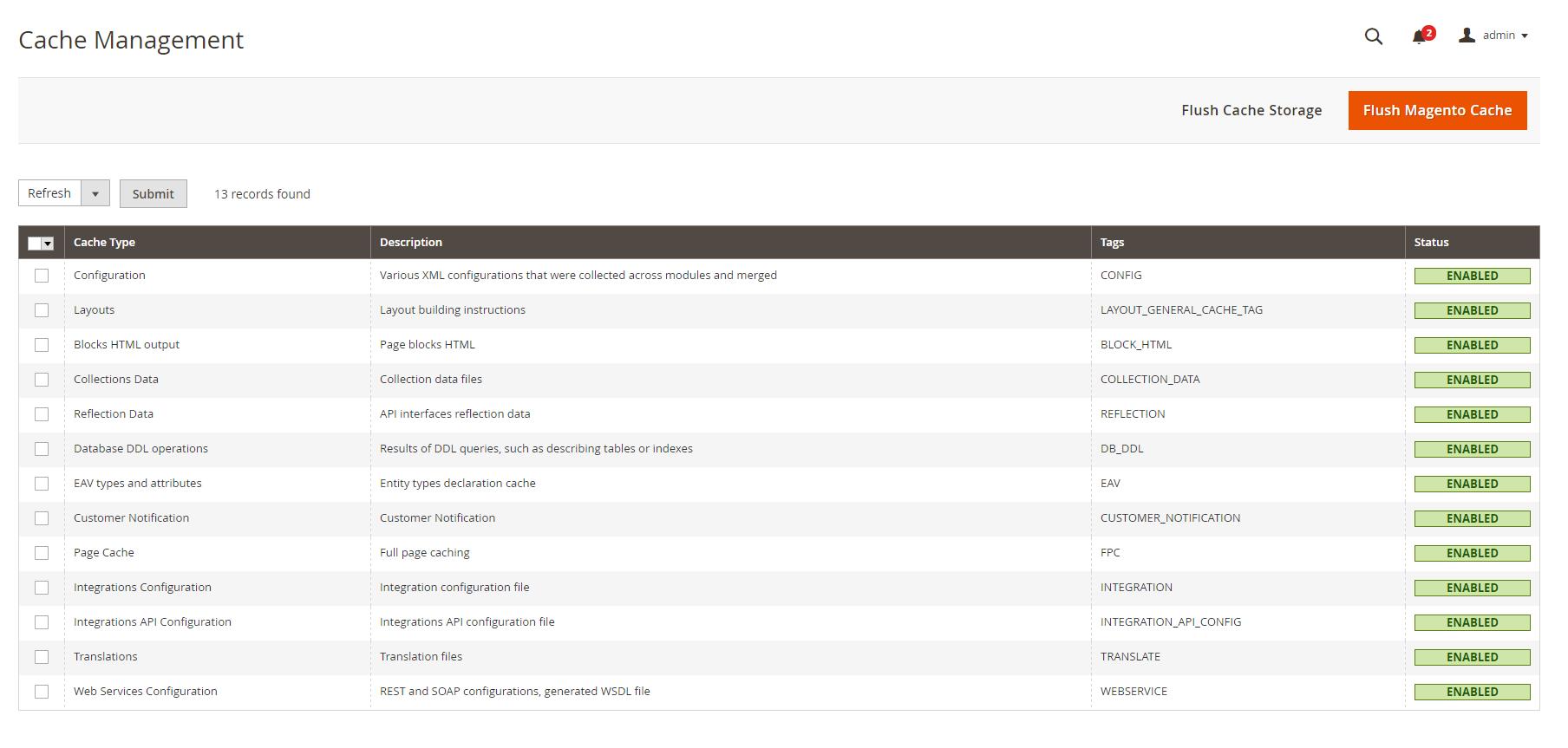 magento-2-system-menu-cache-management