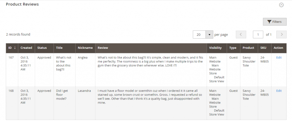 Magento-product-reviews