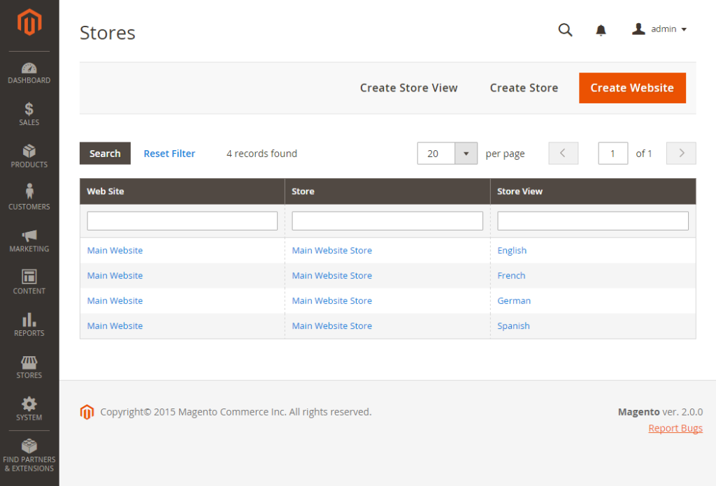 all stores in magento 2