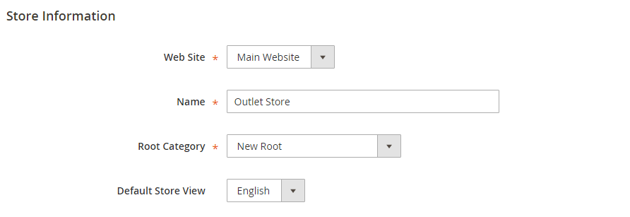 new store with default view adding store in magento 2