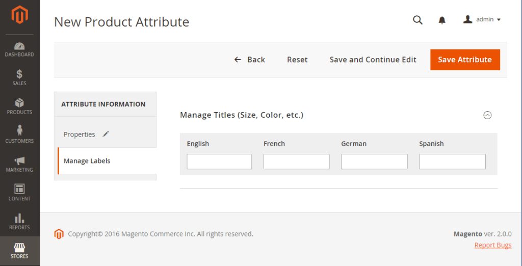 Manage Labels configuring FPT in magento 2