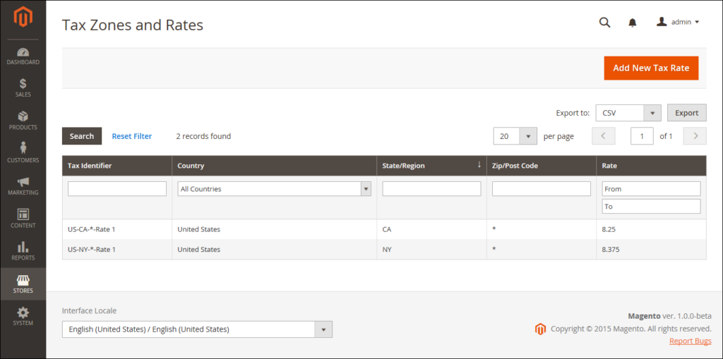 Tax zones and rates tool in magento 2