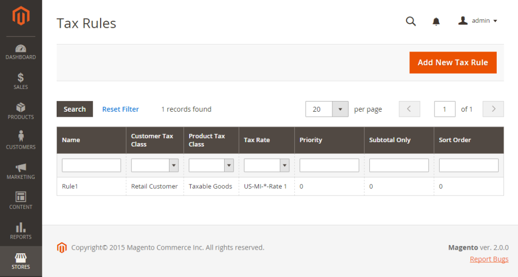 taxes and tax rules in magento 2