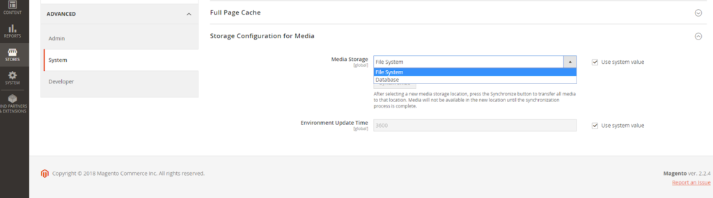 Media Storage Configuration