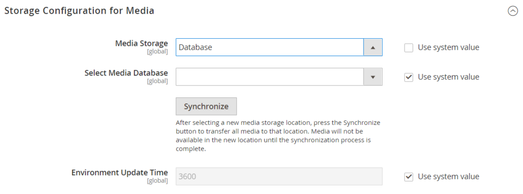 Storage Configuration for Media (Database)