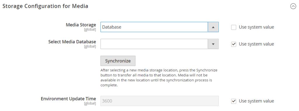 Storage Configuration for Media (Database)